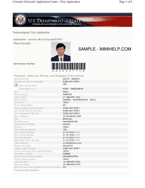 sample visa application