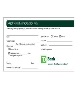 bank direct deposit form