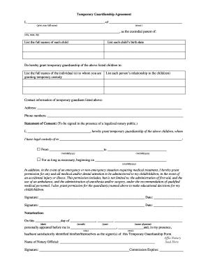 temporarypermanent custody agreement print off