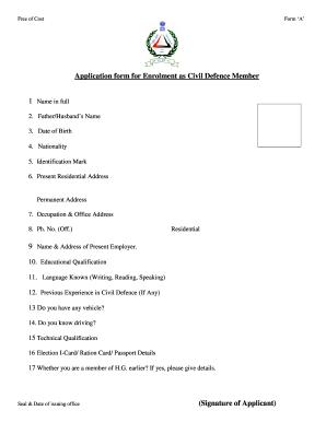 civil defence online form