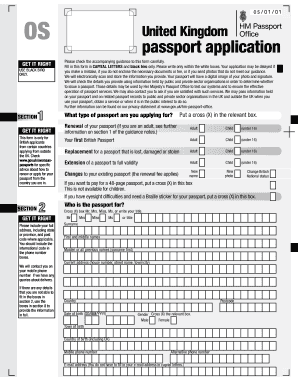 uk passport form