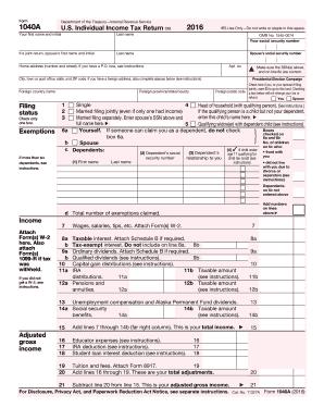 printable irs form 1040a
